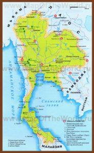 Карта Тайланда на русском языке